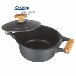 Cratita cu capac, Cooking by Heinner, 4.5 l, aluminiu turnat, negru