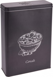 Cutie pentru depozitare cereale, 19.1x8x26.4 cm, metal, negru