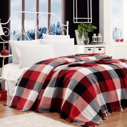 Cuvertura dubla, EnLora Home, Iskoc Black Red White, 200x240 cm,100% bumbac, negru/rosu/alb