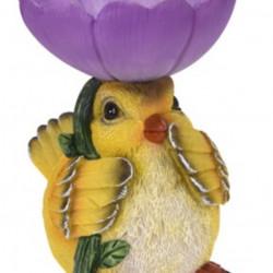Decoratiune Bird with flower, 19x16x20.5 cm, polistone, mov/galben