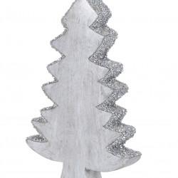 Decoratiune Xmas Tree, 15x3x22 cm, lemn de mango, margele argintii