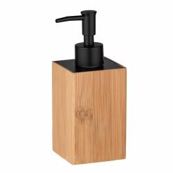 Dozator sapun lichid Badua, Wenko, 8 x 7 x 18 cm, bambus/plastic/metal, natur/negru