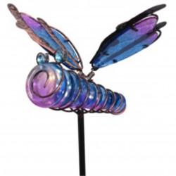 Lampa de gradina Dragonfly, 20x6x105 cm, metal, albastru/mov