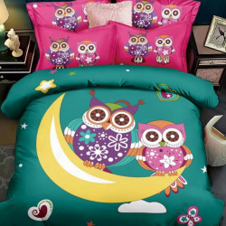 Lenjerie de Pat din Finet, Pat 2 Persoane, Owls on The Moon, FNJ-225