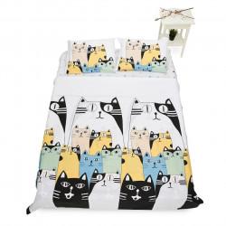 Lenjerie de pat dubla Cats, Heinner, 4 piese, 200 x 220 cm, 100% bumbac, multicolora