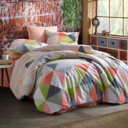 Lenjerie de pat dubla Karma, Majoli Home Collection, 4 piese, 200x220 cm, 100% bumbac ranforce, multicolor