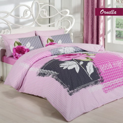 Lenjerie de pat dubla Ornela, Majoli Home Collection, 4 piese, 200x220 cm, 100% bumbac ranforce, roz