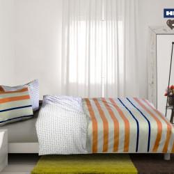 Lenjerie de pat dubla Stripes, Heinner, 3 piese, 200 x 220 cm, 100% bumbac, multicolora