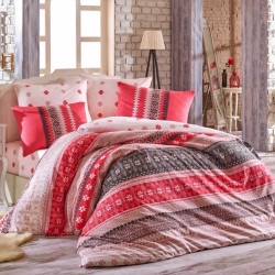 Lenjerie de pat pentru o persoana, 3 piese, 100% bumbac ranforce, Hobby, Destina, rosu