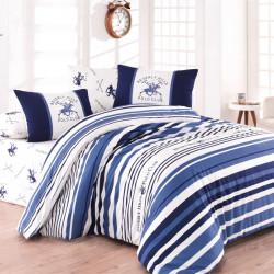 Lenjerie de pat pentru o persoana, Blue Stripes, Beverly Hills Polo Club, 3 piese, 160 x 240 cm, 100% bumbac ranforce, alb/albastru