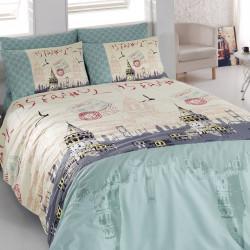 Lenjerie de pat pentru o persoana Galata v2, Majoli Home Collection, 3 piese, 160x240 cm, bumbac ranforce, multicolor