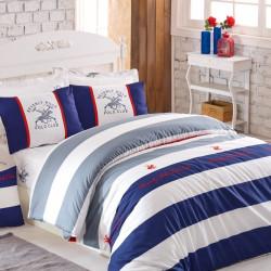 Lenjerie de pat pentru o persoana, Navy, Beverly Hills Polo Club, 3 piese, 160 x 240 cm, 100% bumbac ranforce, multicolora