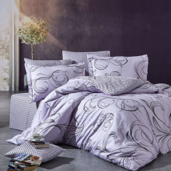 Lenjerie de pat pentru o persoana Orlex, Nazenin Home, 4 piese, 180x240 cm, bumbac satinat, lila