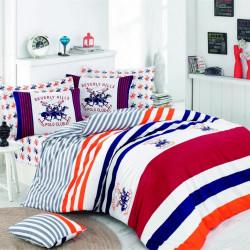 Lenjerie de pat pentru o persoana, Red Navy, Beverly Hills Polo Club, 3 piese, 160 x 240 cm, 100% bumbac ranforce, multicolora