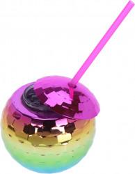 Pahar cu pai Rainbow, 600 ml, polistiren, multicolor