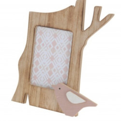 Rama foto Bird, 21.5x13x17 cm, lemn, roz