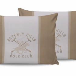 Set 2 fete de perna 50x70, 100% bumbac, Beverly Hills Polo Club, BHPC 024 - Cream, Alb/Crem