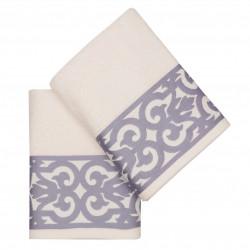 Set 2 prosoape de baie Monaco, Soft Kiss, 50 x 90 cm, 100% bumbac, alb/lila