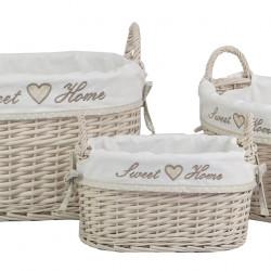Set 3 cosuri ovale Sweet Home Bedora, salcie/material textil, natur
