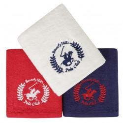 Set 3 prosoape de maini, Beverly Hills Polo Club, 402, 50x90 cm, 100% bumbac, rosu/alb/bleumarin