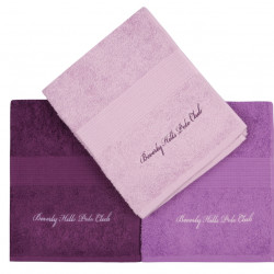 Set 3 prosoape de maini, Beverly Hills Polo Club, Lilac and Purple, 50 x 100 cm, 100% bumbac