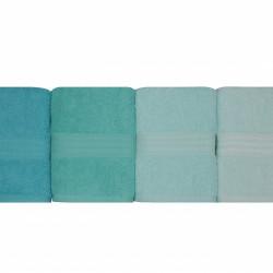 Set 4 prosoape de baie, Hobby, 50x90 cm, 100% bumbac, albastru/turcoaz/bleu