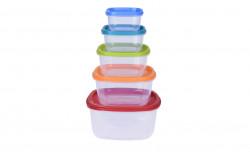 Set 5 caserole pentru alimente, plastic, multicolor