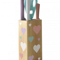 Set 5 cutite cu suport, Amefa, Sweetheart, inox/lemn