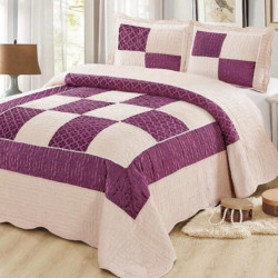 Set Cuvertura de Pat din Catifea + 2 Fete de Perna, Pat 2 Persoane, Purple Squares