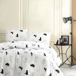 Set cuvertura de pat dubla matlasata, EnLora Home, Patte BlackWhite, 3 piese, 65% bumbac, 35% poliester, alb/negru