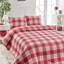 Set cuvertura de pat pentru o persoana Burberry - Red, EnLora Home, 2 piese, 65% bumbac si 35% poliester, rosu