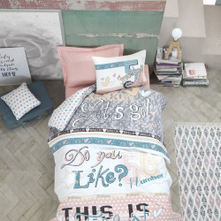 Set cuvertura de pat pentru o persoana, Cotton Box, Fashion Powder, 3 piese, bumbac ranforce, multicolor