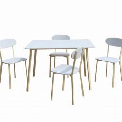 Set dining Bedora Osso, masa cu 4 scaune, Alb