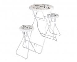 Set masa cu scaune pliabile Premium, 146x60x101 cm, metal, alb/negru