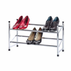 Suport extensibil pentru 10 perechi de pantofi Wenko, 23 x 62 x 35 cm, metal/polipropilena, gri cromat