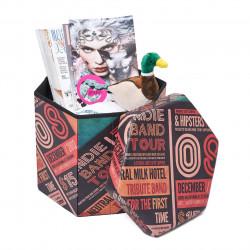 Taburet pliabil cu spatiu de depozitare Hexagonal Old, Heinner Home, 43 x 38 x 38 cm, PVC, multicolor