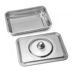 Tava pentru cuptor cu capac, Vanora Home, 39 x 29 x 7 cm, inox, argintiu