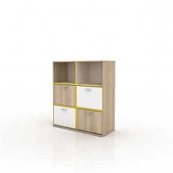 Comoda cu 4 usi, Bedora, City 3022, 97 x 42.5 x 110 cm, PAL, sonoma/alb