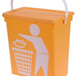 Cos de gunoi cu maner, 12 L, polipropilena, galben