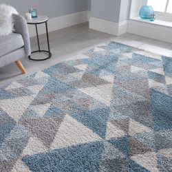 Covor Dakari Nuru Blue Cream Grey, Flair Rugs, 160 x 230 cm, 100% polipropilena, albastru