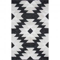 Covor rezistent Eko, AFR 01 - Black, White, 100% bumbac, 120 x 180 cm