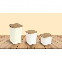 Cutie pentru alimente Bamboo, Jocca, 12 x 12 x 19 cm, bambus, alb/natur