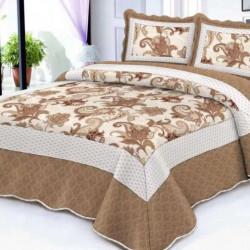 Cuvertura de pat + 2 Fete de Perne, Bumbac Tip Finet, Imprimata, Pat 2 persoane, CFI-95