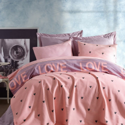 Cuvertura de pat dubla Ramona - Lilac, EnLora Home, 100% bumbac, 220x235 cm, lila