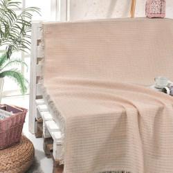Cuvertura de pat, Eponj Home, Cizgili Powder, 180x220 cm, 100% bumbac, roz