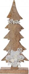 Decoratiune Xmas Tree w pearls , 17x5.8x43 cm, lemn de mango, alb/bej