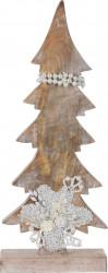 Decoratiune Xmas Tree w pearls , 17x5.8x43 cm, lemn de mango, alb/crem
