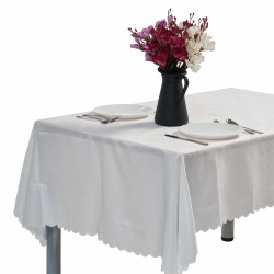 Fata de masa Jacquard Flowers anti-pete, Heinner Home, 140 x 240 cm, 100 % poliester, alb