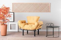 Fotoliu extensibil Nitta Single, Futon,135x70 cm,metal, mustar