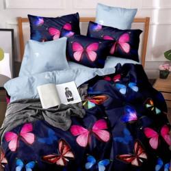 Lenjerie de Pat din Finet, Pat 2 Persoane, Pink Butterflies, FNJ-144